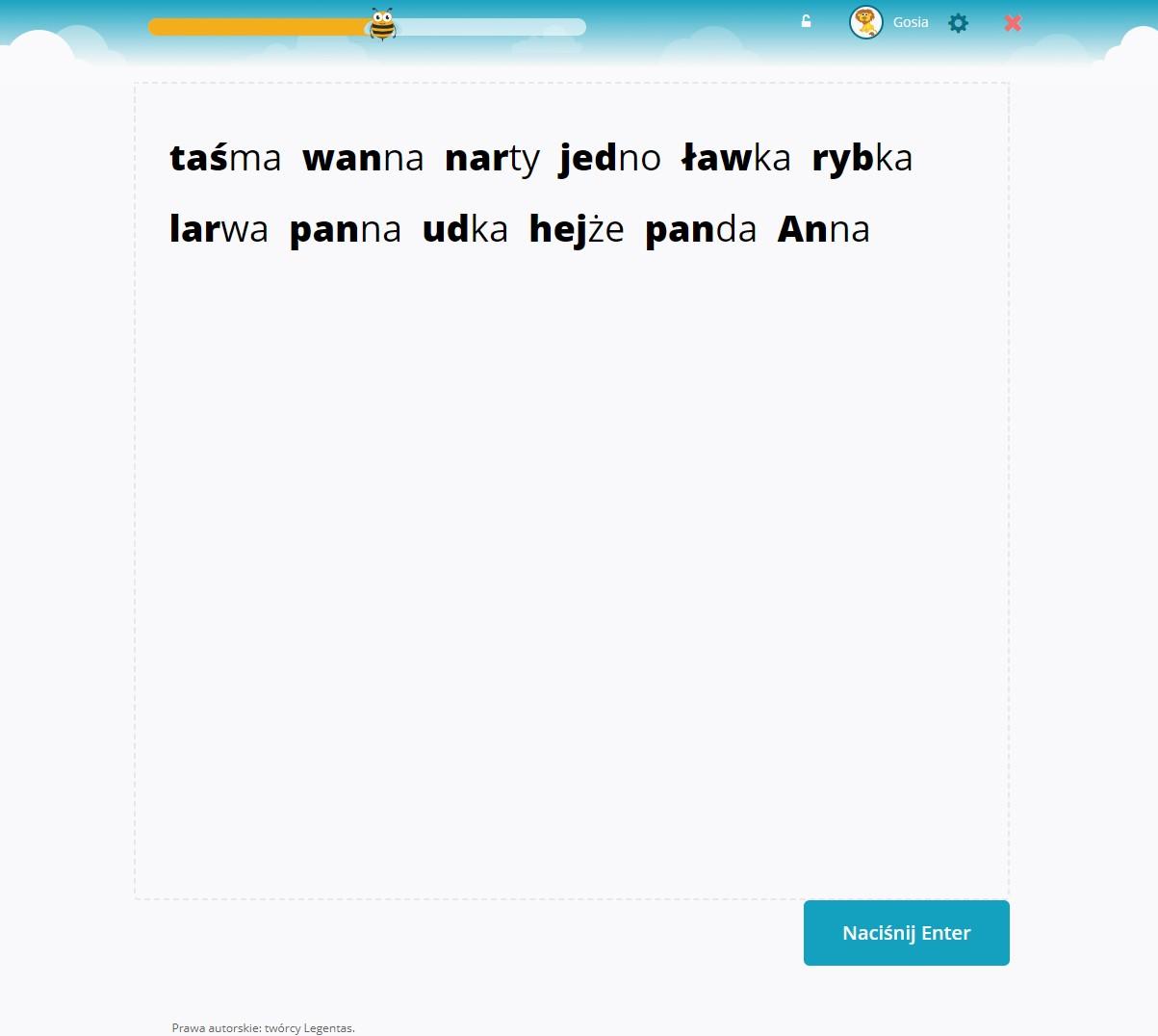 Słowa złożone z 2 sylab: sylaba zamknięta + sylaba otwarta