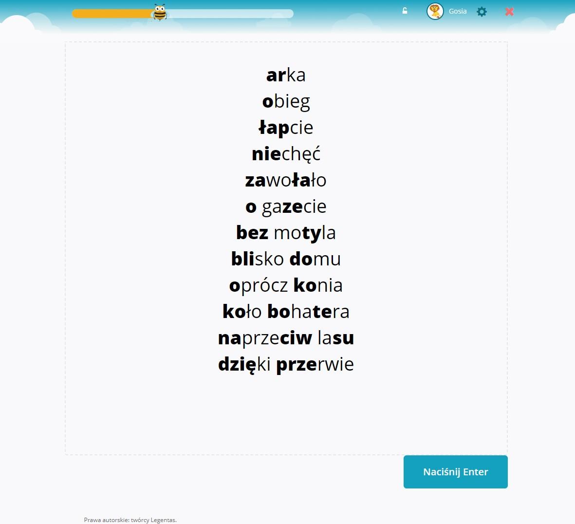 Proste słowa ćwiczone w obrazku złożonym z wyrazów