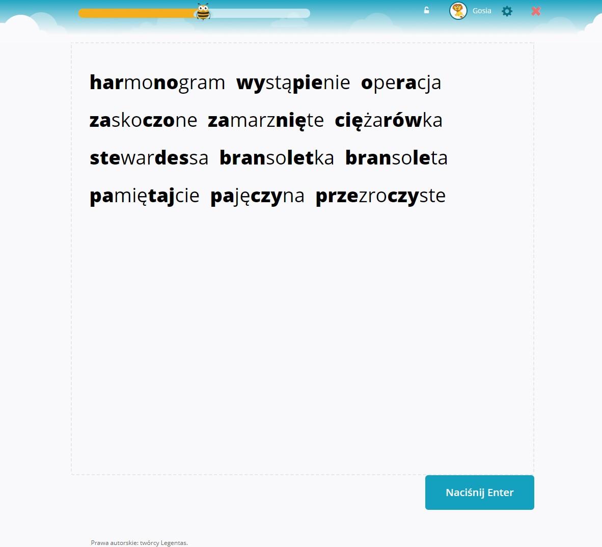 Słowa 4 lub 5 sylabowe z grupami spółgłoskowymi