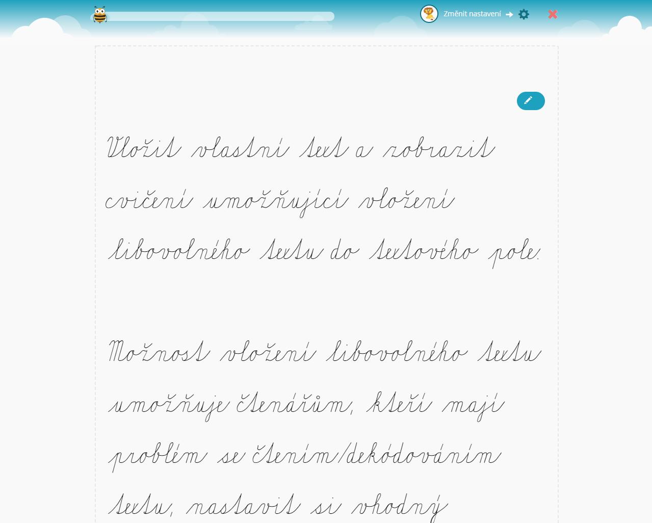Vložit vlastní text a zobrazit