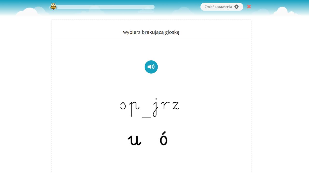 Ćwiczenie na ortografię. Uzupełnienie u/ó,rz/ż oraz ch/h.